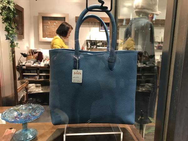 水戸の京成百貨店パサージュ通りの【無一物空】にて当店の手作り牛革バッグを販売