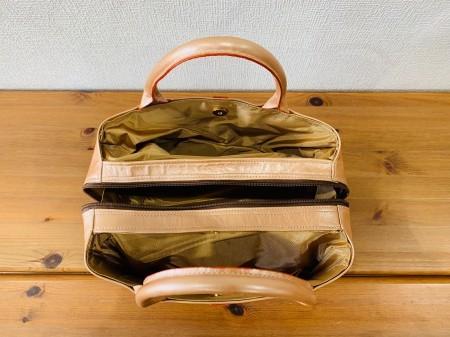 軽い!パール風の牛革キューブ型ハンドバッグ【サーモンピンク】