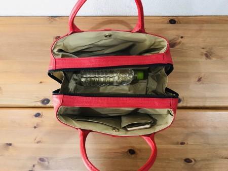軽い!牛革イタリアンレザー・キューブ型ハンドバッグ 【赤】